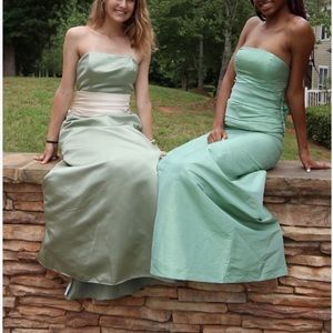 Bill Levkoff Green and Beige strapless formal gown